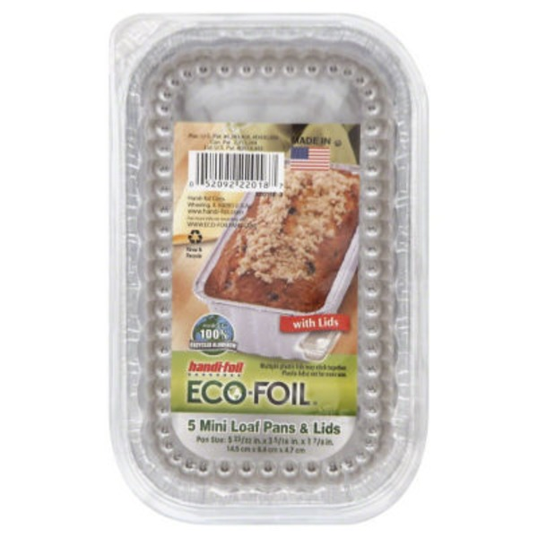 Handi-Foil Eco-Foil Mini Loaf Pans and Lids (5 23/32 in x 3 5/16 in x  1 7/8 in)