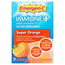 Emergen-c (10 count, super orange flavor) immune+ system support with vitamin d, dietary supplement fizzy drink mix with 1000mg vitamin c, 0.32 ounce packets, caffeine free