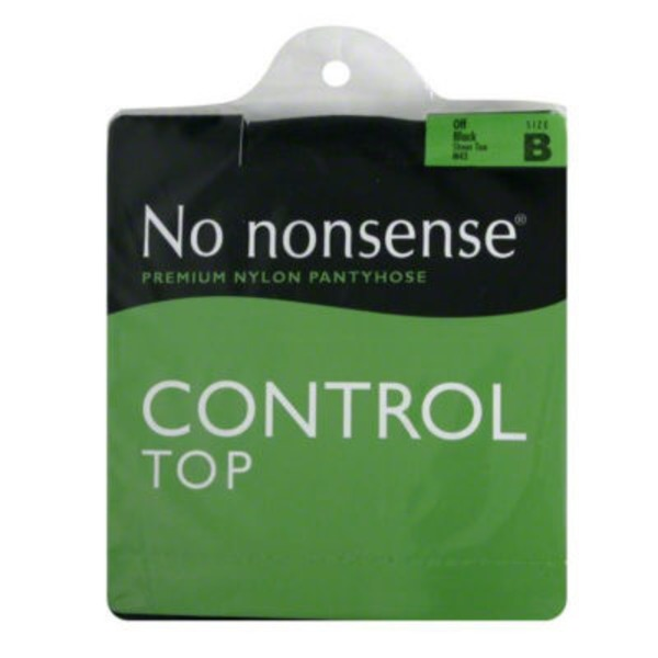 No Nonsense Sheer Toe Control Top Off Black Size B Premium Nylon Pantyhose