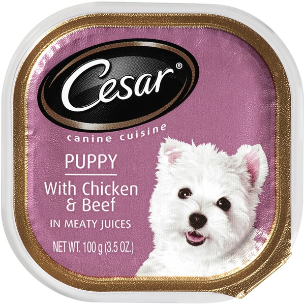 Cesar Puppy with Chicken & Beef in Meaty Juices Wet Dog Food