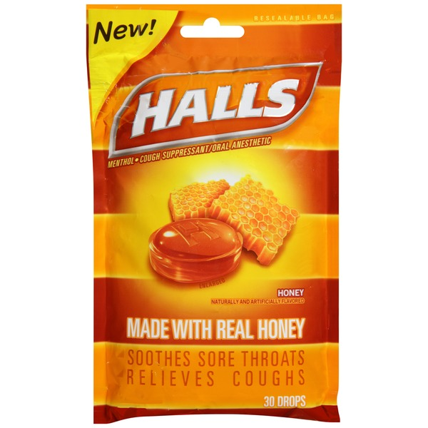 Halls Honey Menthol Drops Cough Suppressant/Oral Anesthetic
