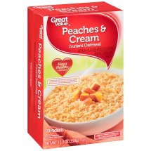 Great Value Instant Oatmeal, Peaches & Cream, 12.35 oz, 10 Count