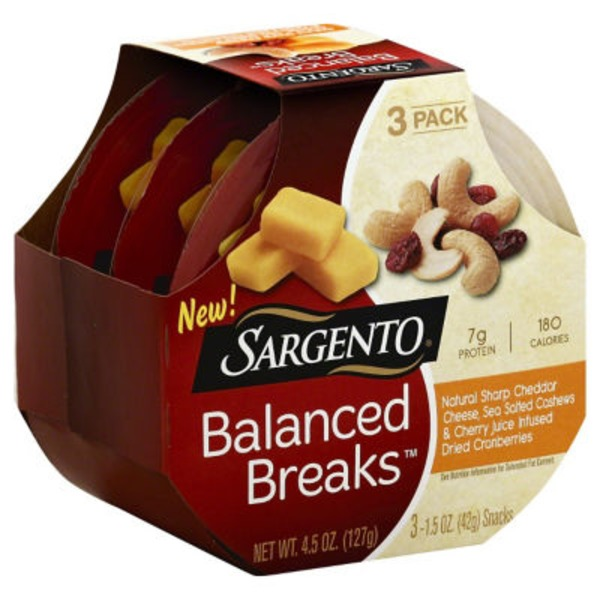 Sargento Balanced Breaks Natural Sharp Cheddar Cheese/Cashews/Cherry Juice Cranberries  Snacks