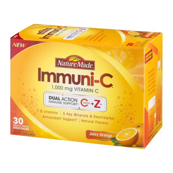 Nature Made Immuni-C 1,000 Mg Vitamin C Single Serve Stick Packs Juicy Orange - 30 CT