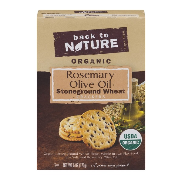 Back to Nature Organic Stoneground Wheat Crackers Rosemary Olive Oil