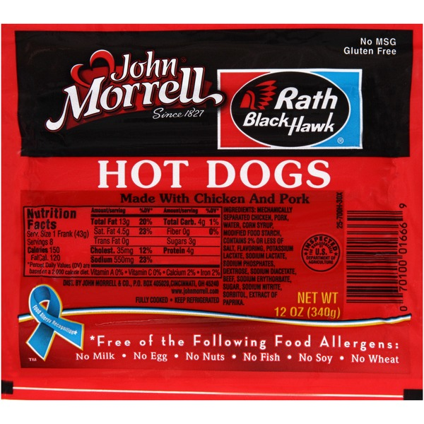 John Morrell Rath Black Hawk Regular Hot Dogs