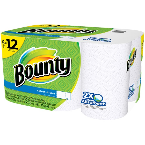Bounty Basic Select-A-Size™ Paper Towels, White, 6 Double Rolls = 12 Regular Rolls Towels/Napkins