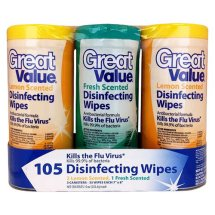Great Value Scented Disinfecting Wipes, Fresh/Lemon, 3 Count