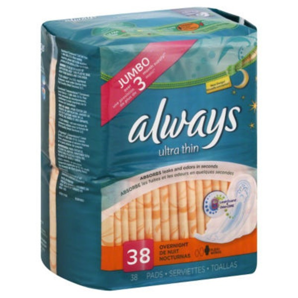 Always Thin Ultra Always Ultra Thin Size 4 Overnight Pads With Wings, Unscented, 38 count Feminine Care