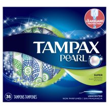 Tampax Pearl Super Plastic Tampons, Unscented, 36 Ct