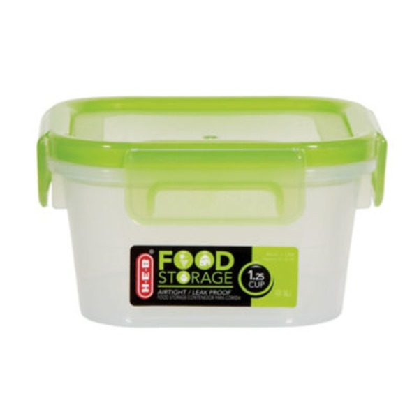 H-E-B 1.25 Cup Airtight Leak Proof Food Storage Container With Green Lid