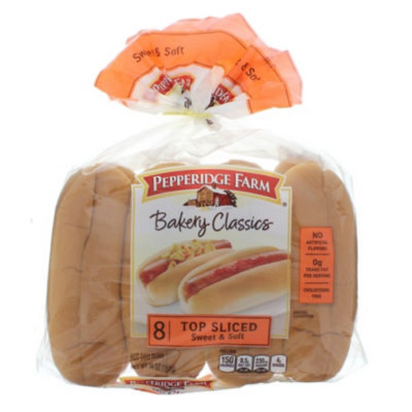 Pepperidge Farm Fresh Bakery Bakery Classics Top Sliced Sweet & Soft Hot Dog Buns