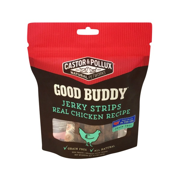 Castor & Pollux Natural Pet Works Good Budddy, Jerky Strips, Real Chicken Recipe