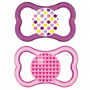 MAM Air Pacifiers, 6+ Months, Pink/Purple - 2 Counts