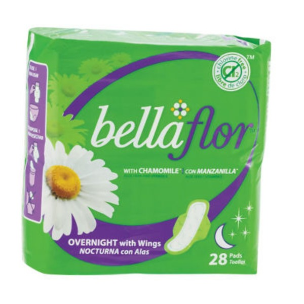 Bella Flore Overnight Wings With Chamomile 28 Count