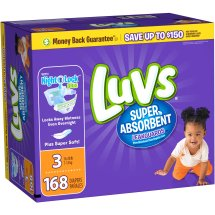 Luvs Super Absorbent Leakguards Diapers, Size 3, 168 Diapers