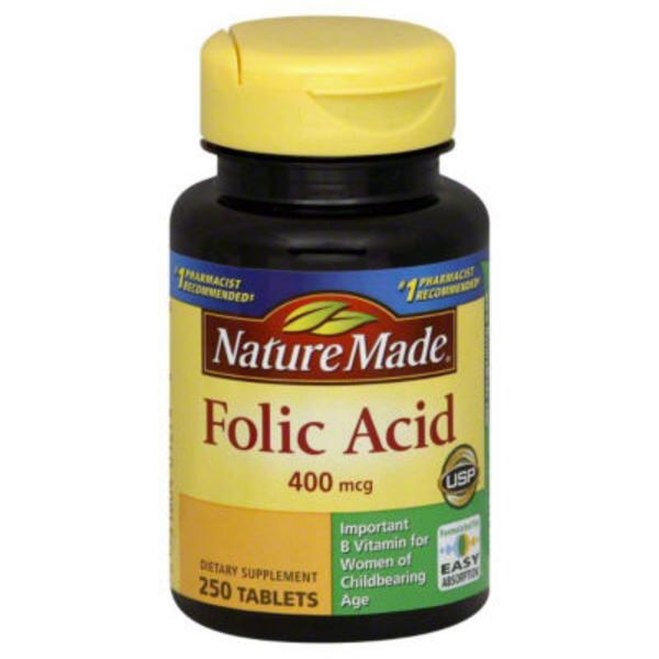 Nature Made Folic-Acid 400mcg Dietary Supplement Tablets - 250 CT