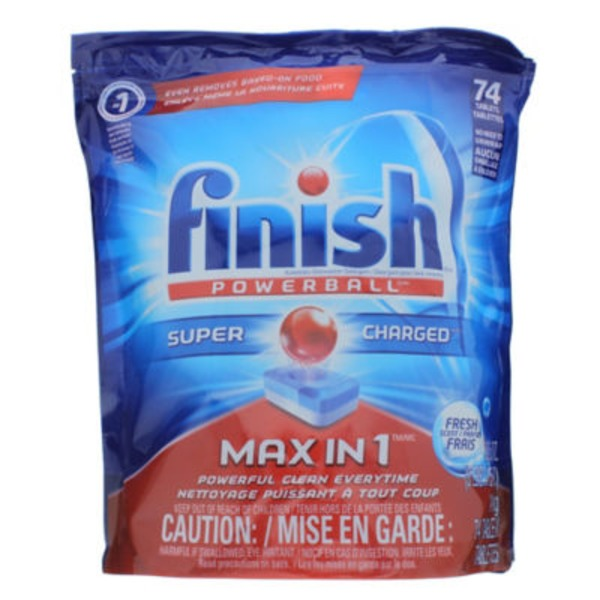 Finish Powerball Super Charged Automatic Dishwasher Detergent Tablets Fresh Scent - 74 CT