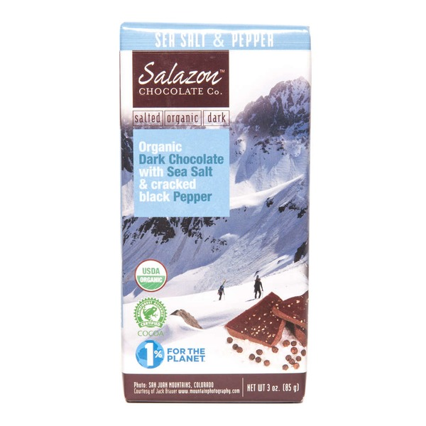 Salazon Chocolate Co. Organic Dark Chocolate with Sea Salt & Cracked Black Pepper