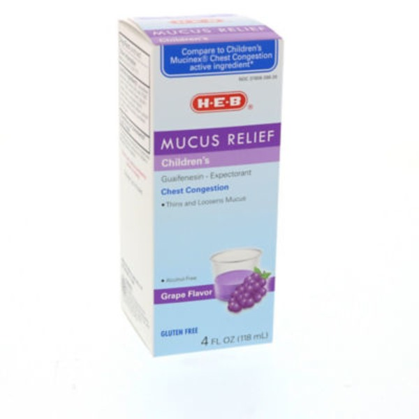 H-E-B Grape Flavor Alcohol Free Children's Mucus Relief