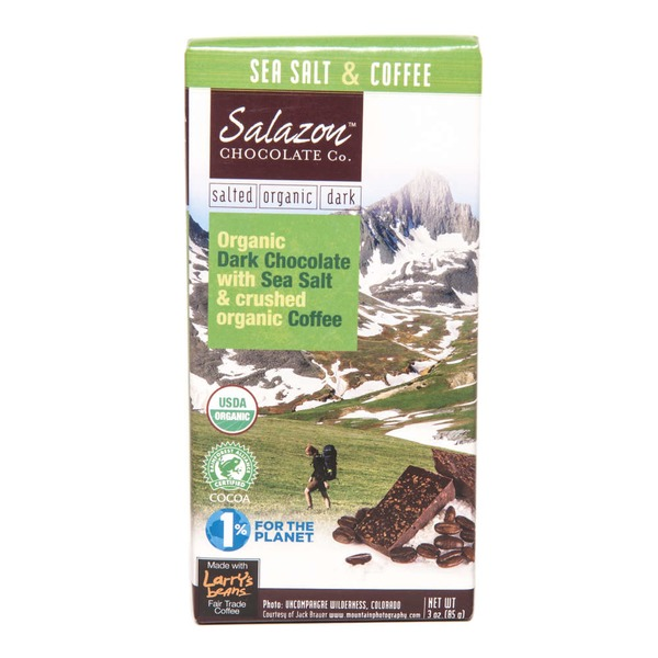 Salazon Chocolate Co. Organic Sea Salt & Crushed Coffee Dark Chocolate