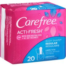 Carefree Acti-Fresh Body Shape Regular to Go Unscented Pantiliners, 20 ct