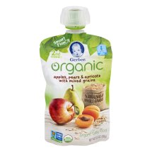 Gerber Organic 2nd Foods Baby Food, Apples, Pears & Apricots with Mixed Grains, 3.5 oz Pouch