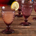 The Pioneer Woman Adeline Embossed Footed Glass Goblet Plum