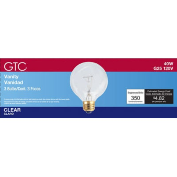 GTC Incandescent G25 40 W Clear Medium Base Bulb