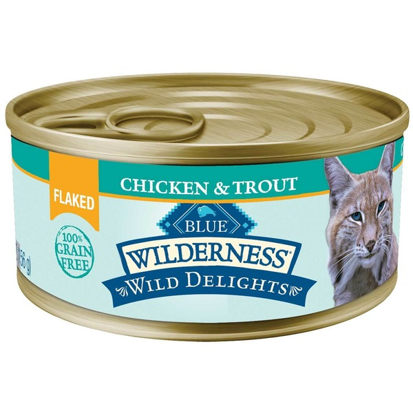 Blue Buffalo Cat Food, Moist, Chicken & Trout, Flaked, Wilderness, Can