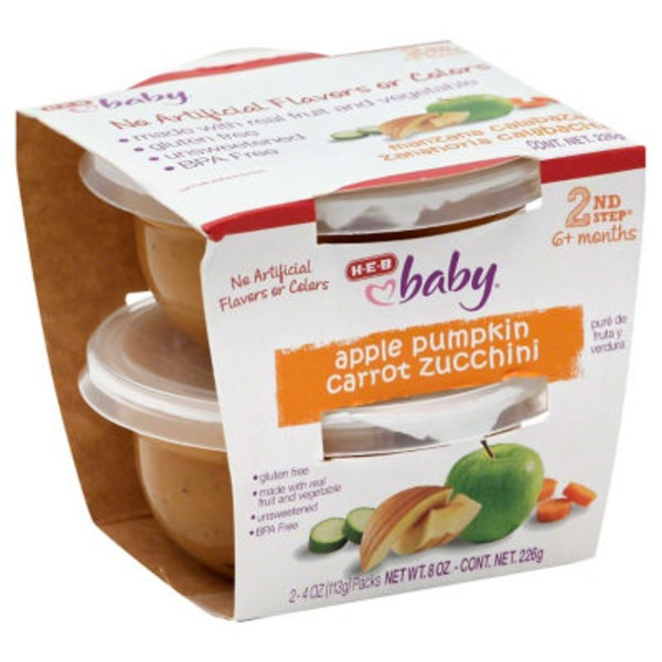 H-E-B Baby 2nd Step Apple Carrot Pumpkin Zucchini Baby Food Cups