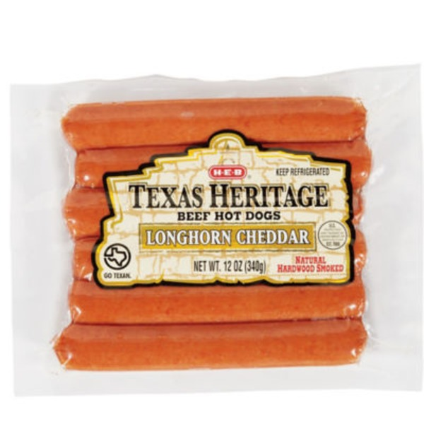 H-E-B Texas Heritage Longhorn Cheddar Beef Hot Dogs
