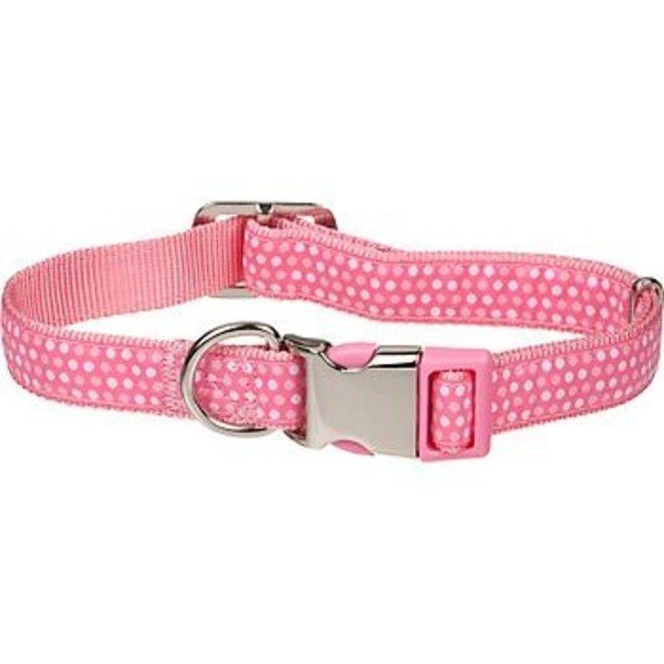 Petco Medium Adjustable Pink & White Dotted Dog Collar