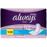 Always Thin Always Sheer Liners, Wrapped, Regular 108 Count Feminine Care