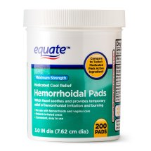 Equate Hemorrhoidal Maximum Strength Medicated Cool Relief Pads, 200 Ct