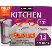 Kirkland Signature Flex-Tech No-Leak 13 Gallon Kitchen Drawstring Bags