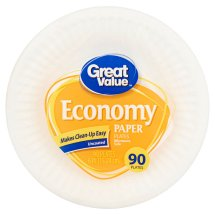 Great Value Economy 6' Paper Plates, 90 Count