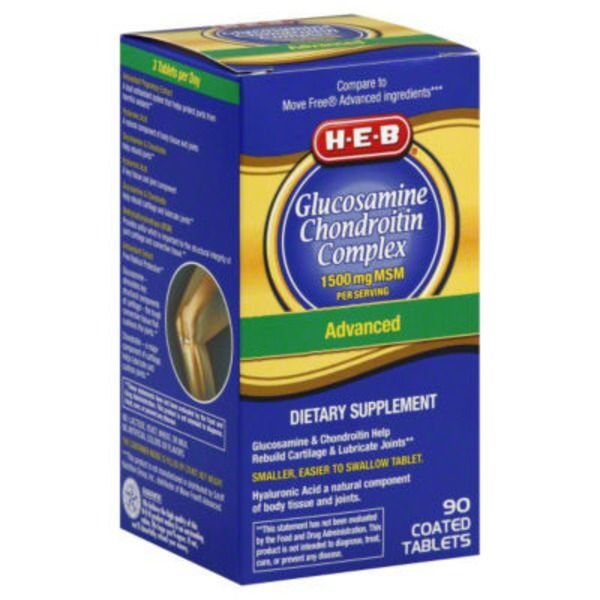 H-E-B Glucosamine Chondroitin Complex 1500 Mg Msm Advanced Coated Tablets