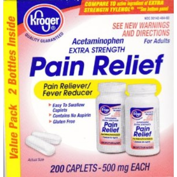 Kroger Pain Relief Acetaminophen Caplets, 500mg