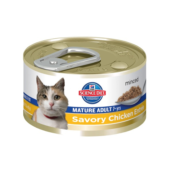 Hill's Science Diet Cat Food, Mature Adult (7+ Years), Savory Chicken Entree, Minced
