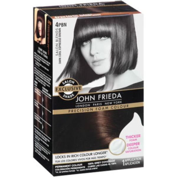 John Frieda Hair Color Brilliant Brunette Dark Cool Espresso Brown 4PBN Precision Foam Colour