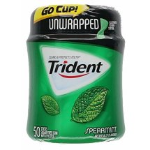 Trident Unwrapped Spearmint Sugar Free Gum With Xylitol 50 Stick Bottle