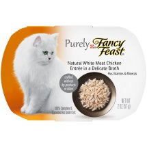 Purely Fancy Feast Cat Food Natural White Meat Chicken Entree in a Delicate Broth, 2.0 OZ