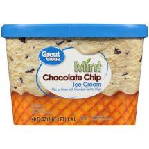 Great Value Mint Chocolate Chip Ice Cream, 48 oz