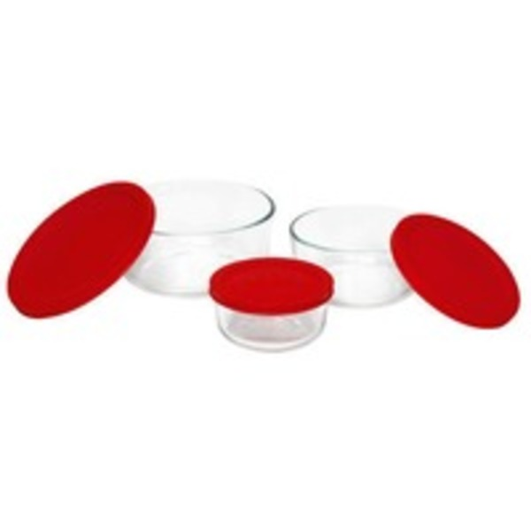 Pyrex Value Plus Pack 7cup, 4cup, 2cup Containers With Lid