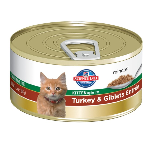 Hill's Science Diet Cat Food, Minced, Kitten (Up to 1 Year), Turkey & Giblets Entree
