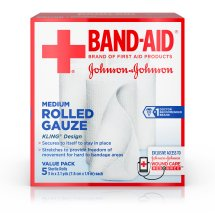 BAND-AID® Brand of First Aid Products Rolled Gauze, Minor Wound Care, 3 Inches by 2.1 Yards, 5 Count Value Pack