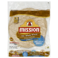 Mission Tortillas Flour 100% Whole Wheat Burrito 8 Count