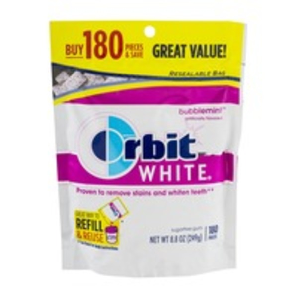 Orbit White Sugar Free Gum Pieces Bubblemint - 180 CT