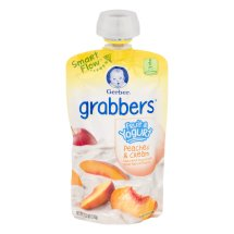 Gerber Grabbers Fruit and Yogurt Squeezable Puree, Peaches and Cream, 4.23 oz Pouch